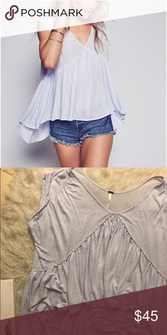 Free People Into the Night Top♥️ A baby blue top in good condition, WILL TRADE FOR A SMALL! Free People Tops