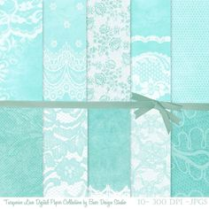 Turquoise lace digital paper, 12x12 inches and 8.5 x 11 inches,300 dpi, jpegs, digital scrapbook paper. Instant download. Lace digital backgrounds for creating DIY invitations, scrapbook layouts, planner stickers, etc.