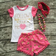 "Hot Pink/Gold Dot ""Follow Your Heart"" Pom Pom Short Set #boutique-outfits #new…"