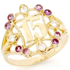 10k Gold Synthetic Alexandrite 15 Anos Birthstone Ring.  -- 67% DISCOUNT & FREE SHIPPING for a limited time!