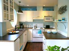 white kichen cabinets, brown sink, woodgrain laminate, robin's egg blue paint, beadboard paintable wallpaper