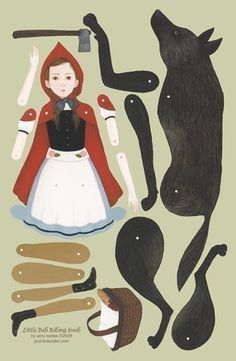 this little red riding hood paper doll set is based on an original gouache painting by amy earles. it's printed on thick paper with u. Paper Puppets, Paper Toys, Arte Pop Up, Imprimibles Toy Story Gratis, Red Riding Hood Wolf, Toddler Dolls, Vintage Paper Dolls, Stop Motion, Little Red