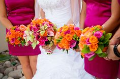 The colors just mesh so well & pop. My wedding colors orange and fuschia. I added green orchids to my bouquet to make it pop Orange And Pink Wedding, Orange Wedding Flowers, Pink Wedding Theme, Green Wedding, Floral Wedding, Pink And Green, Our Wedding, Wedding Ideas, Fuschia Wedding