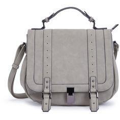 ShoeDazzle Bags Francois Womens Gray ❤ liked on Polyvore featuring bags, handbags, grey, wallets & cases, gray satchel handbag, satchel hand bags, gray purse, satchel purses and gray satchel