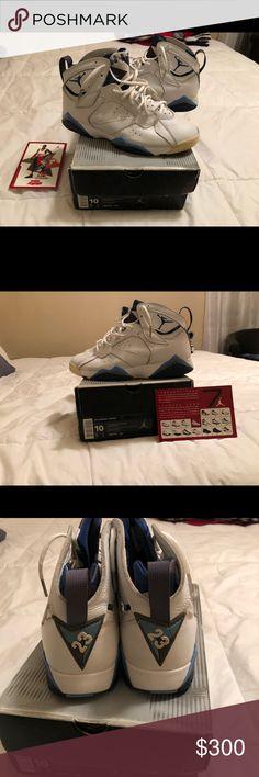 Air Jordan 7 retro Air Jordan seven retro white French blue flint gray retro card 02 ( size 10 ) Jordan Shoes Sneakers