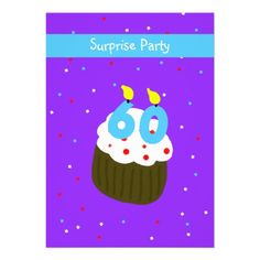 Shop Surprise Birthday Party Invitation Cupcake created by henishouseofpaper. 60th Birthday Party Invitations, Free Birthday Invitation Templates, 70th Birthday Parties, Invites, Cupcake Birthday, Candle, Crochet Pattern, Roses, Crochet Throw Pattern