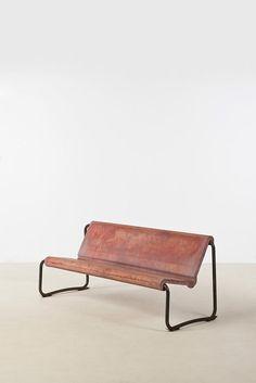 Willy Guhl; Tubular Metal and Fiberglass Bench, 1960s.