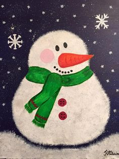 Acrylic Painting on Canvas by Lisa Fontaine.  Snowman.  Winter.  Christmas.