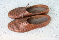 Size 105 Vintage Woven Leather Oxford Shoes by FancyPhantom,