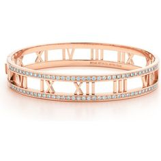 Atlas® hinged bangle in 18k rose gold with diamonds ($13,360) ❤ liked on Polyvore featuring jewelry, bracelets, hinged bangle, diamond jewellery, pink gold jewelry, bracelet bangle and bracelets & bangles