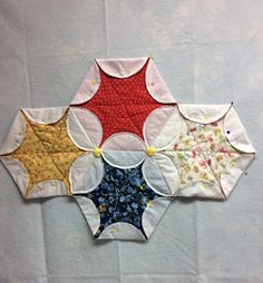 Moe Moe's Star Quilting Pattern Patchwork Hexagonal, Hexagon Quilt, Quilt Block Patterns, Pattern Blocks, Quilt Blocks, Japanese Patchwork, Diy Quilt, Scrappy Quilts, Quilting Tips