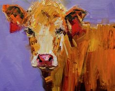 Cow Art Oil Painting Painting - Red Earring Cow by Diane Whitehead
