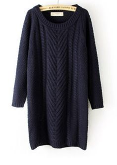 Navy Long Sleeve Long Cable Knit Sweater