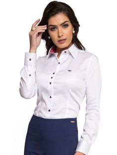 Corporate Shirts, Business Shirts, Business Outfits, White Shirts Women, Blouses For Women, Sexy Outfits, Cool Outfits, Uniform Clothes, Look Office