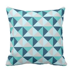 Navy Blue Teal Grey Geometric Triangles Pillow Cover Canvas Throw Pillow Case Decorative Pillow Cover 18 x Mint And Navy, Teal And Grey, Navy Blue, Unique Teen Bedrooms, Triangle Pillow, Thing 1, Light Teal, Throw Pillow Cases, Decorative Pillow Covers
