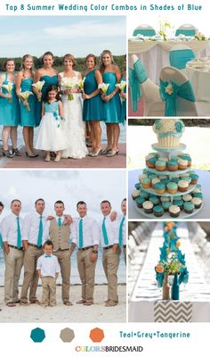 Top 8 Summer Wedding Color Combos in Shades of Blue for 2019 - ColorsBridesmaid Dusty Rose Wedding, Blue Wedding, Wedding Summer, Wedding Art, Wedding Tips, Wedding Stuff, Wedding Planning, Dusty Blue Bridesmaid Dresses, Beach Wedding Reception