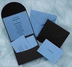 Blue and Black Pocket Wedding Invitations by The Purple Mermaid