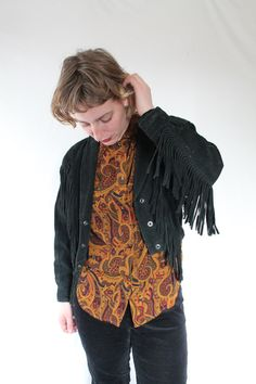 Vintage 80s Black Suede Fringe Leather by VegaGenesisVintage