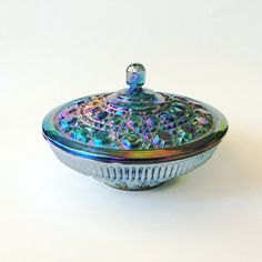 Vintage Indiana Glass Iridescent Blue Carnival Candy by acasarella