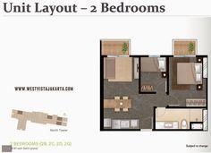 Denah unit #2BR #westvistajakarta apartment