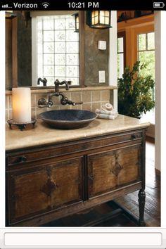 Rustic chic bathroom sink