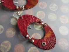 I really like this Etsy artist! Hinged hammered copper earrings by masonmetaldesigns on Etsy, $48.00