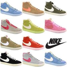 Nike Blazer Lsd Womens HiTop Trainer Suede Blue Gold White Red Pink  New Shoes