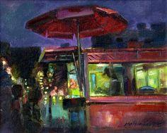 New York City Street Vendor 8x10 Oil on canvas, painting by artist Hall Groat II