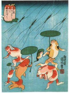 金魚づくし  にはかあめんぼう              所蔵:ブリュッセル王立美術歴史博物館  歌川国芳 天保10年(1839)頃  <解説----にわか雨・・・かと思ったらにわかアメンボウです。国芳の作品の中には「見立て」が頻繁に登場するのですが、それにしてもこの見立ては突拍子もないですね。雨がアメンボウって、普通の人じゃ思いつかないですよ。しっぽをかついで急ぐ金魚は、他の金魚と違って腹びれが足になってます。お母さんに連れられてお出かけなのか、子金魚はアメンボウを見て嬉しそうです。>