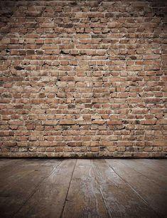 Senior Red Brick Wall With Old Brown Wood Floor Photo Backdrop – Shopbackdrop Black Brick Wall, Old Brick Wall, Brick And Wood, Wall Wood, Brick Veneer Wall, Old Wall, Stone Veneer, Painted Brick Walls, Exposed Brick Walls