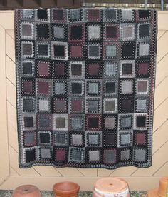 "Afghan made with a 4"" square Weave-It pin loom and crochet borders."