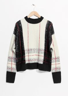 & Other Stories image 1 of Check Sweater in White / Black Fashion Story, Fashion 2018, Plaid Pattern, Sweater Weather, Autumn Winter Fashion, Knitwear, Ready To Wear, Men Sweater, Clothes For Women