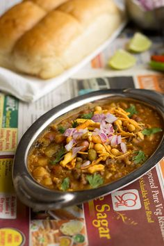 Misal Pav recipe one of the traditional Maharashtrian dish and also a popular Mumbai Street Food! Misal is a spicy curry made with mixed sprouts. Veg Recipes, Indian Food Recipes, Vegetarian Recipes, Snack Recipes, Cooking Recipes, Simple Recipes, What's Cooking, Mumbai Street Food, Indian Street Food