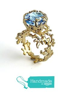 18k Yellow Gold Plated Sterling Silver, Genuine Large Sky Blue Topaz Organic Solitaire Coral Ring, Sizes 4 to 13 from Arosha https://www.amazon.com/dp/B0168IW9HO/ref=hnd_sw_r_pi_awdo_kOxEybW1YYBEH #handmadeatamazon