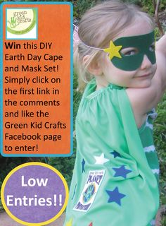 Green Kid Crafts is giving away a DIY Planet Protector Cape and Mask Set everyday until Earth Day! The first lucky winners will be chosen tomorrow at 2pm PST. All you have to do to enter is like the Green Kid Crafts Facebook page! Click on the first link in the comments to like the page.