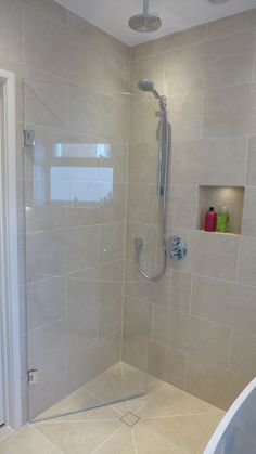 This wet room installation accommodates both a bath and walk in shower making best use of the space in this small bathroom. Wet Room Bathroom, Wet Room Shower, Small Shower Room, Small Showers, Upstairs Bathrooms, Diy Shower, Bathroom Layout, Simple Bathroom, Bathroom Colors