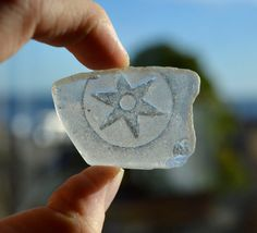 SCOTTISH STAR - Embossed White Sea Glass Shard - Scottish Sea Glass Supplies (4011)