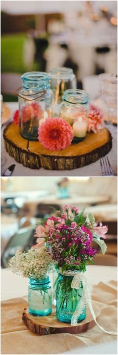 Rustic country wedding ideas - mason jar wedding centerpieces & decor #weddings #weddingideas #weddingcenterpieces #weddinginspiration