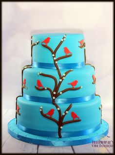 Blue Wedding cake with little birds theme