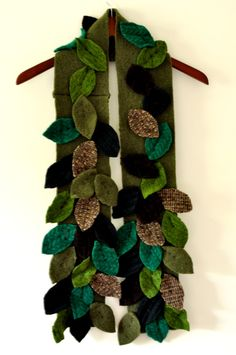 SALE 50% OFF Green Wool Scarf, Leaves, Upcycled Sweaters