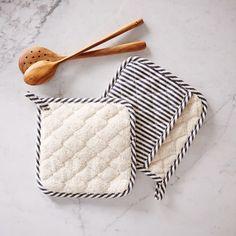 BBQ Pot Holder, Ticking Stripe, Iron + White