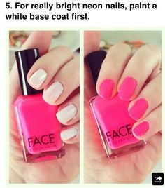 Paint a white base coat for bright neon nails
