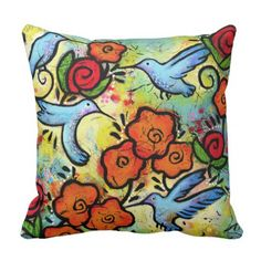 Colorful Whimsical Hummingbird Wildlife Animals Throw Pillow - floral style flower flowers stylish diy personalize