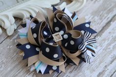 School Uniform hair bow Navy and khaki Back to school by fancybows, $9.50 pinned with Pinvolve - pinvolve.co