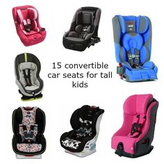 Car seats that offer extended rear facing for tall or larger kids, as well as boosters, convertible seats and infant seats for children who are on the tall or big side.