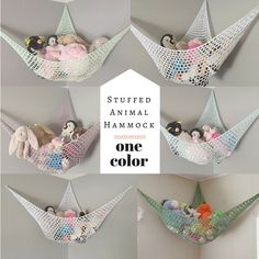 One Solid Color Stuffed Animal Hammock / Toy Organization Net / Choose Your Own Colors!