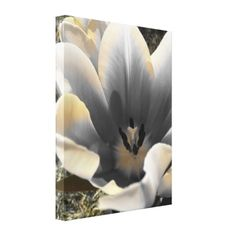 """""""A Touch of Yellow"""" Wrapped Canvas #Art An artistic black and white macro photograph of a #tulip with yellow tint. $133.90 #homedecor"""