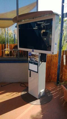 This is our Freestanding pedestal Outdoor TV. It is perfect for easy installs or areas in your back yard where there is no option to mount the TV. www.outdoorhdtv.com