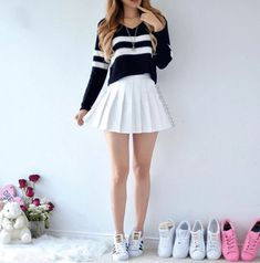 A black sweater with white stripes, featuring a white pleated skirt and Superstar sneakers. A black sweater with white stripes, featuring a white pleated skirt and Superstar sneakers. Teen Fashion Outfits, Cute Fashion, Outfits For Teens, Fall Outfits, Girl Fashion, Summer Outfits, Fasion, Fashion Beauty, Cute Casual Outfits