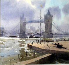 Allan Runagall (UK) Tower Bridge, Afternoon Light. watercolour. 44 x 47 cm.
